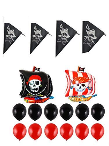 thematys Globos de Fiesta Pirata 15 Partes - 14 Globos y una Guirnalda para Adultos y niños cumpleaños y Fiestas