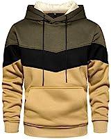 Stylish Hoodies Pullover Long Sleeve Colorblock Sweatshirt Men Green Medium