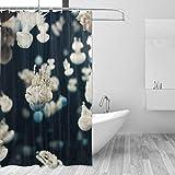 FAJRO Ästhetische Quallen-Polyester-Duschvorhang, maschinenwaschbar, Badezimmer-Duschvorhänge, antibakteriell für Duschstall, Badewannen, 152,4 x 182,9 cm