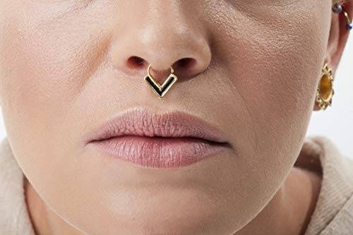 1 Piece Decorative 24Kt Gold Plated Over 92.5 Sterling Silver Natural Purple Amethyst Gemstone Indian Nose Stud For Pierced Nose.