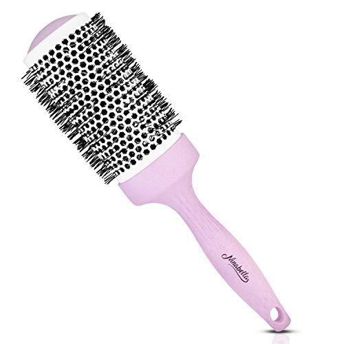 Ninabella® Bio Rundbürste Groß 52mm | Volumen-Fön-Bürste zum professionellen Stylen und Glätten Ihrer Haare | Ionen Rundhaarbürste mit Keramik-Aluminium-Körper | Antistatische Rundföhnbürste