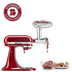Designed, engineered, and tested by KitchenAid Simply attach the metal food grinder to the power hub of any KitchenAid stand mixer*. then let the mixer do all the work. *Stand mixer sold separately. Convenient front pocket The larger food tray* proce...