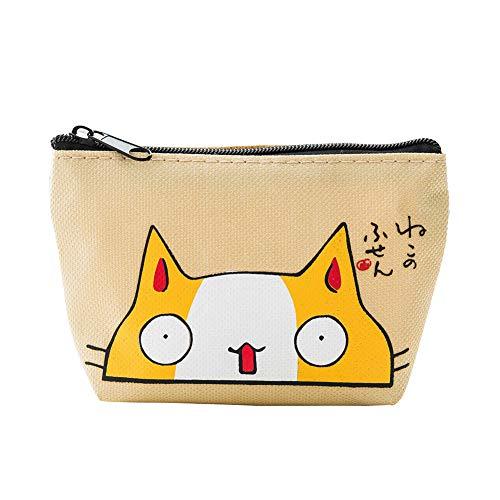 BIGBOBA Portefeuille porte-monnaie motif chat mignon en tissu sac de maquillage sac de crayon à lèvres clé pour femmes filles