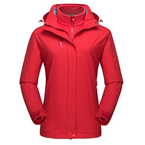 INVACHI Damen 3 in 1 Bergsteigerjacke, zweiteilig, winddichter Mantel, verschleißfeste Fleece-Regenjacke für Herbst und Winter, warme Reißverschlusstaschen M rot