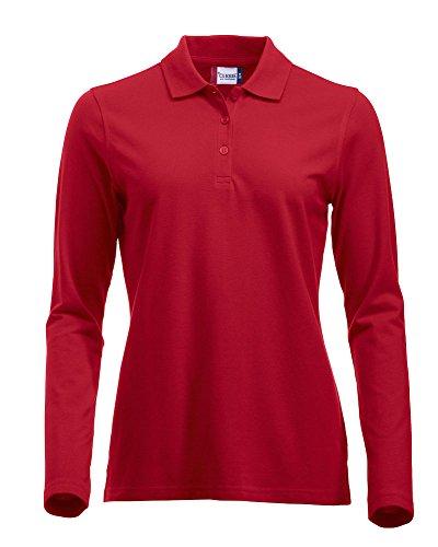 Langärmliges, klassisches Polo-Shirt für Damen, Baumwolle, moderne Passform, 11lebendige Farben, XS-XXL Gr. XL, rot