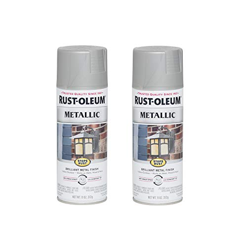 Rust-Oleum 7277830-2PK Stops Rust Metallic Spray Paint, 11 Ounce (Pack of 2), Matte Nickel, 2 Pack