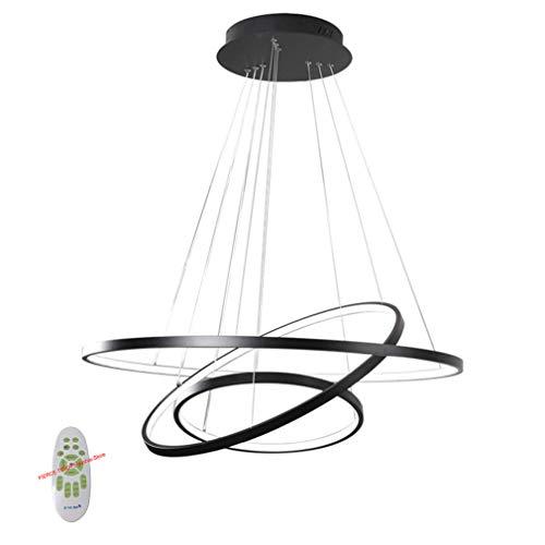FIERCE TIGER Moderne LED Pendelleuchte Esstisch 76W LED 3-Ring LED Dimmbar Fernbedienung Hängeleuchte Wohnzimmer Deckenleuchte Schlafzimmer Höhenverstehbar Hängelampe Kronleuchter 60/40/20cm (Schwarz)