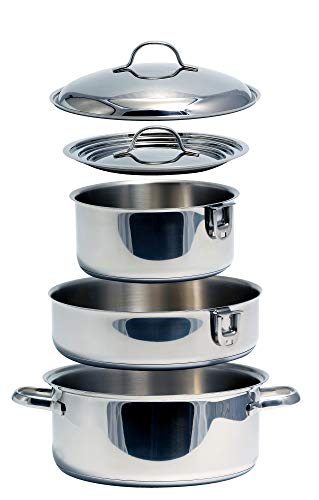 Camco Premium Nesting Cookware Set - Pots with Removable Handles, Space Efficient Excellent for RVs and Compact Kitchens, 7-Piece Set (43920),Stainless Steel