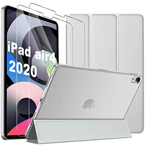 IVSO für iPad Air 4 Hülle + für iPad Air 4 Panzerglas[2 Stücke], Transparenz. Staubfreie, Fingerabdruckfreie, Supereinfache, Hülle mit Displayfolie für iPad Air 4 2020 Tablet 10.9 Zoll (Grey)