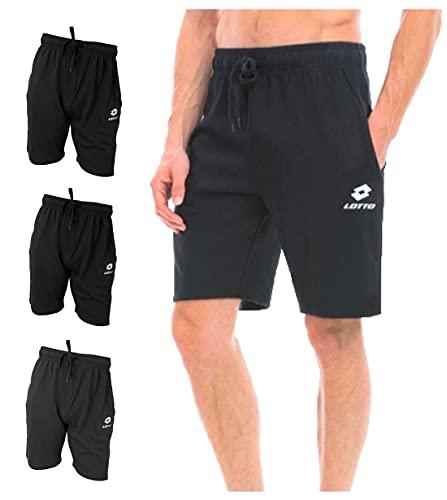 Lotto Bermuda Uomo, Offerta 2 Pezzi, Bermuda in Felpa Estiva, Pantalone Tuta Uomo (3 Pezzi Nero, L)