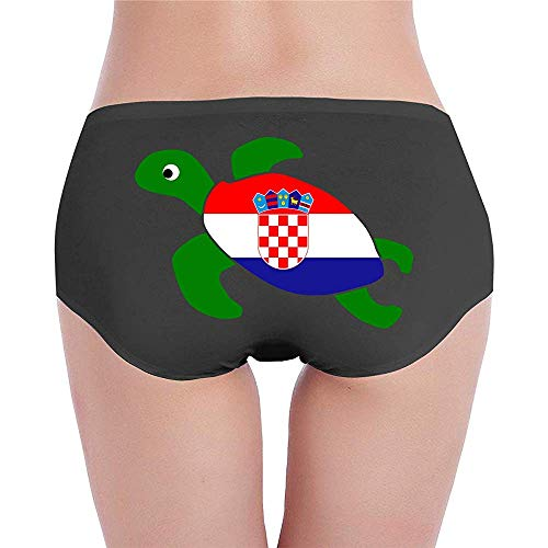 Adamitt Meeresschildkröte Kroatien Flagge Womens Low-Waist Unterwäsche Hipster Unterhose für Frauen