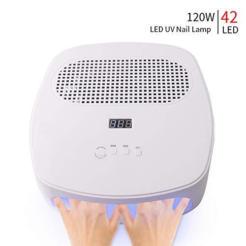 QWER Nagel-Trockner Intelligent Light Therapy Staubentfernung Two-in-one-Nagel-Maschine 42 Lampenperlen Doppel Leistungsstarke Ventilator 120W Staubsauger Nagel-Maschine,Weiß