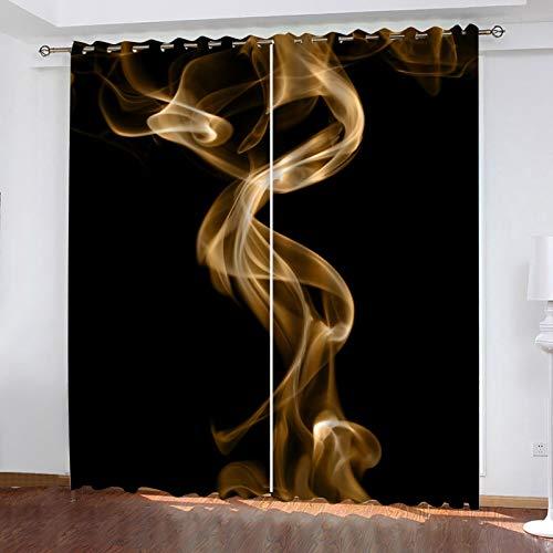 WLHRJ Cortina Opaca en Cocina el Salon dormitorios habitación Infantil 3D Impresión Digital Ojales Cortinas termica - 160x115 cm - Arte Abstracto de Humo