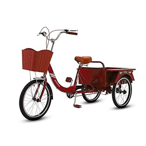 Triciclo para adultos bicicleta 20in Triciclo Para Adultos Con La Cesta De La Compra Y El Compartimiento De Almacenamiento, Bicicletas De 3 Ruedas Marco De Acero De Alto Carbono Para Person(Color:Red)