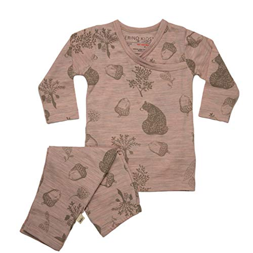 Merino Kids Long-Sleeve Pyjama Set, Misty Rose Bear Print, For Toddlers 2-3 Years