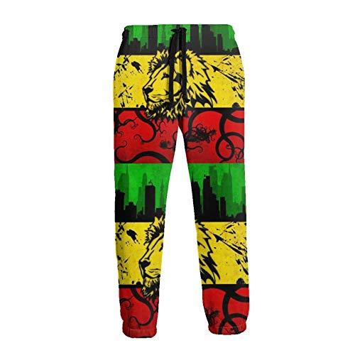 Lewiuzr Lion Jamaica Reggae Men 'S Jogginghose Joggerhose mit Taschen