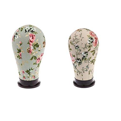 MagiDeal Tête Mannequin en Toile Floral Affichage Perruque Modèle Tête Présentoir Support Charpeau Casquette 21\