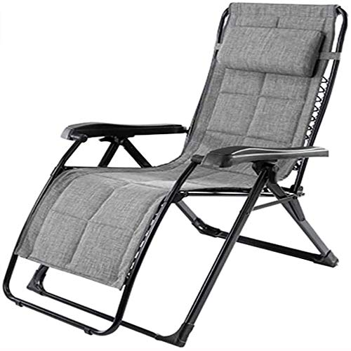 ASDFG Deck Chair Recliners,Zero Gravity Locking Patio Outdoor Lounger Chair Oversize XL Padded Adjustable Recliner with Headrest Support 440lbs