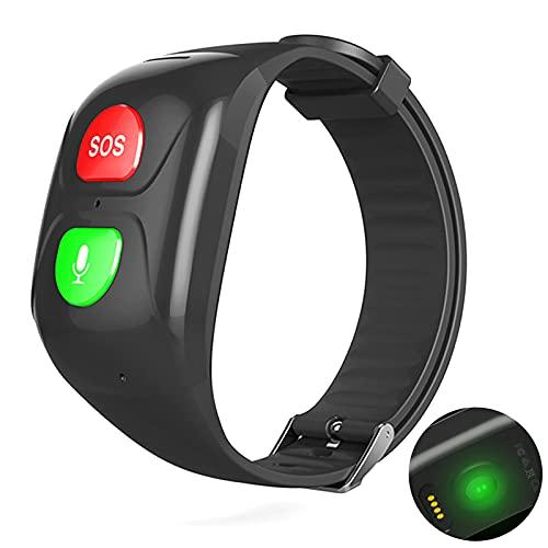 URJEKQ GPS Tracker Smart Watch para Ancianos 4G SOS Voice Chat GPS Tracker Watch para la Actividad de Adultos Fitters Tracker GPS para la Pulsera Impermeable,Negro