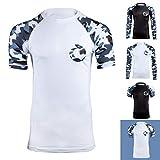 Gold BJJ Jiu Jitsu Rashguard - Camo Short Sleeve Rash Guard Compression Shirt for No-Gi, Gi, & MMA (White Camo, L)