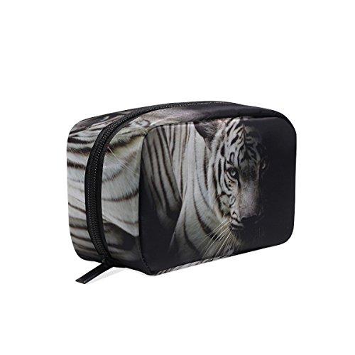 COOSUN - Bolsa de maquillaje para mujer, diseño de tigre blanco