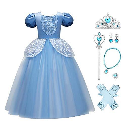 FYMNSI Cinderella Kostüm Kleid für Kinder Mädchen Aschenputtel Märchen Halloween Cospaly Karneval Fasching Prinzessinnenkleid Tüll Langes Maxikleid Geburtstagsfeier Verkleidung mit Zubehör 8-9 Jahre