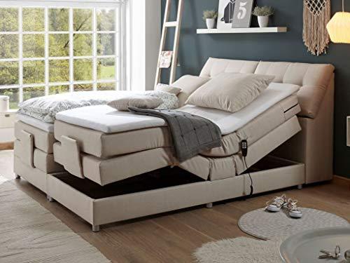 *Froschkönig24 Concord 180×200 cm Boxspringbett Bett mit Motor Beige, Ausführung:Variante 2*