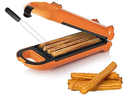 CHURRERA - Churros Maker für bis zu 4 Waffeln mit horizontaler und vertikaler Positionsmöglichkeit, mit Waffelgabel zum leichten Entnehmen der Churreras
