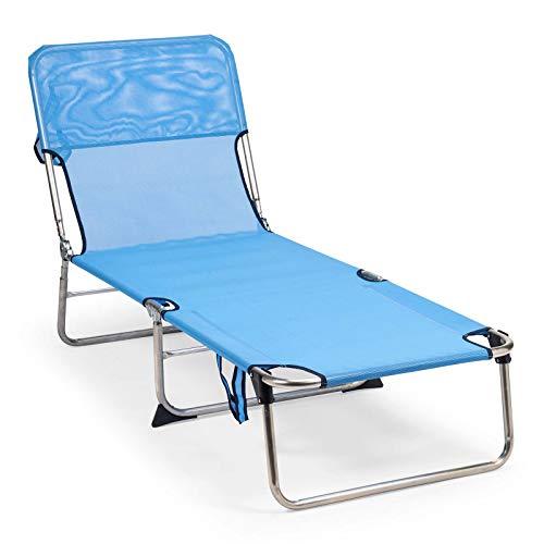 Solenny 50001072735243 50001072735243-Hamaca Tumbona de Jardín 3 Patas Sin Muelles, Azul