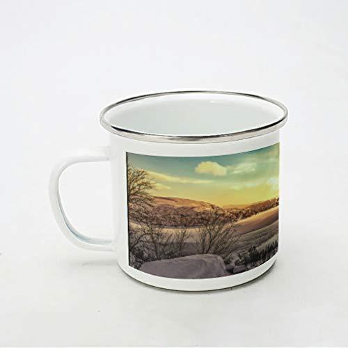 KittyliNO5 Taza esmaltada con diseño de paisaje y puesta de sol en el desierto, portátil y ligero, ideal para el hogar, la oficina, viajes, camping, color blanco, 350 ml