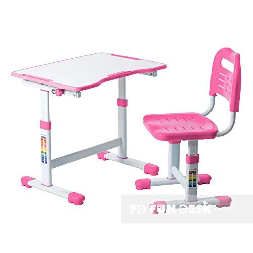 FD FUN DESK Sole II Pink biurko dla uczniów z regulacją wysokości, z regulacją nachylenia, biurko dla dzieci z krzesłem, 700 x 500 x 510 – 760 mm
