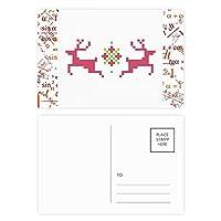 雪のクリスマス鹿画素 公式ポストカードセットサンクスカード郵送側20個