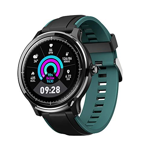 Hoteon FT01 2020 Version Smartwatch with 1.3 inches Full Touchscreen and Round Customised Dial Display, IP68 Waterproof, Pedometer, Heart Rate, Remote Camera for Men and Women (Green)