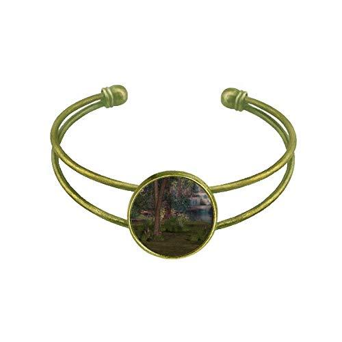 Bracelete retrô com cenário da natureza da ciência florestal da floresta, joia de punho aberto
