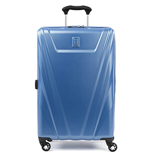 Travelpro Maxlite 5-Hardside Spinner Wheel Luggage, Azure Blue, Checked-Medium 25-Inch