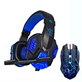 Not Available Gaming Headset and Gaming Mouse Combo, Pro Gaming Headset for PC, Laptop, Pung Mobile Game with Mic, LED Over-Ear Headphone, 3.5mm Wired Ergonomic USB Gaming Mouse (Blue)