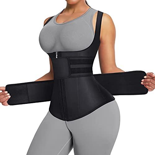 FeelinGirl Plus Size Waist Trainer Trimmer Belt Slimming Body Shaper Sauna Sweat Workout Girdle Slim Belly Band Black
