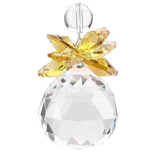 litulituhallo Paquete de 2 colgantes de bola de cristal K9 transparente para colgar prismas de boda de cristal amarillo atrapasueños
