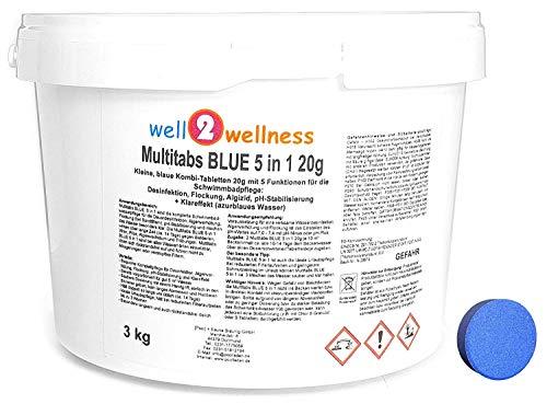 well2wellness Chlor Multitabs Blue 5 in 1 20g / kleine Blaue Multitabs 5 in 1 a 20g - 3,0 kg
