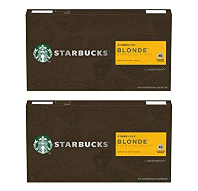 Starbucks Blonde Espresso Roast by Nespresso Blonde Roast Coffee Pods (Pack Of 2, Total 80 Capsules)