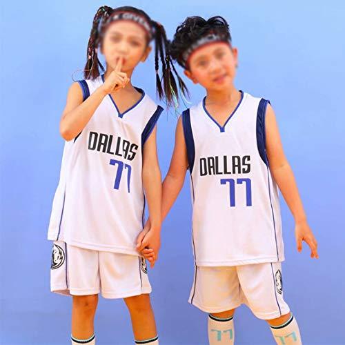 SHR-GCHAO La Ropa de Adultos y niños de Baloncesto - NBA Dallas Mavericks # 77 Luka Doncic Jersey - Malla de Secado rápido Chaleco Transpirable, Blanco,2XS(Child)