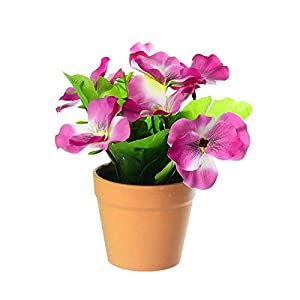 WXIANG Fake Flower 1Pc Artificial Flower Pansy Plant Bonsai Home Office Garden Desk Plant Gorgeous Bonsai Bush Lily Flower Bonsai DIY Party Decorative Flower (Color : Purple)