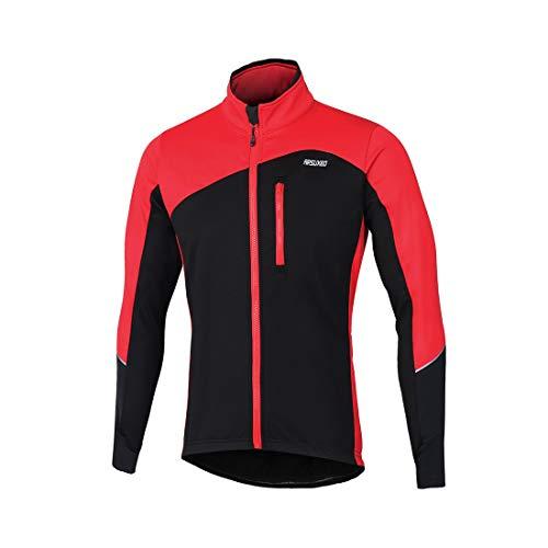 GWELL Herren Radtrikot Langarm Winddicht Kälteschutz Fahrradbekleidung für Radsport mit Fleece Sportjacke für Winter Herbst Rot M