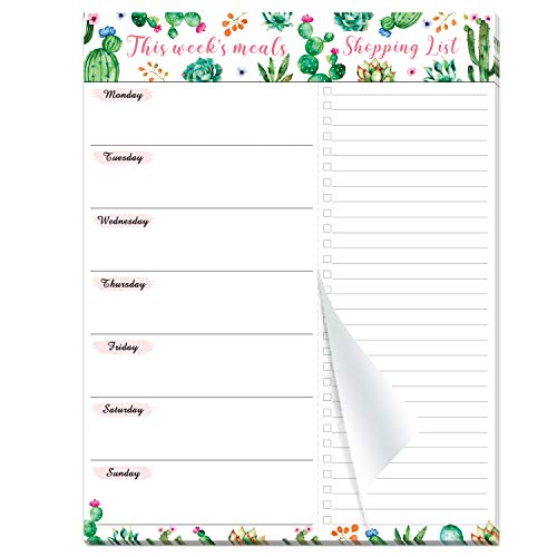 """Weekly Meal Planner - Magnetic Undated Meal Planning Pad with Premium Paper, 7""""x 9"""", 52 Weeks, Easily Tear Off Grocery List"""