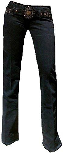 Fornarina Damen Jeans Schwarz Cave Denim Rock Star Bootcut Hose Black Schlagjeans mit Nieten Gürtel W27 L34