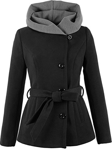 Grimada 1281 Damen Wollmantel Wolljacke COOTIC mit Kapuze (42, schwarz)