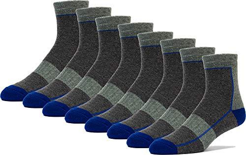 FUN TOES Men's Merino Wool Hiking socks Quarter Ankle Thermal Insulated Outdoor Skiing Climbing Trailing Trekking 4 Pairs (Blue/Grey)