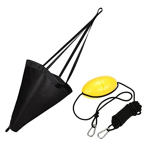 MOVKZACV - Ancla de calcetín de deriva, ancla marina de material de pesca con kit de línea de lanzador de Kayak de 30 pies para barco marino, yate, esquí, hinchable, barco con motor
