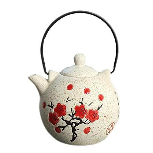 Black Temptation Tetera de Porcelana de Estilo japonés Exquisito Ciruelo en Flor de Color Caqui