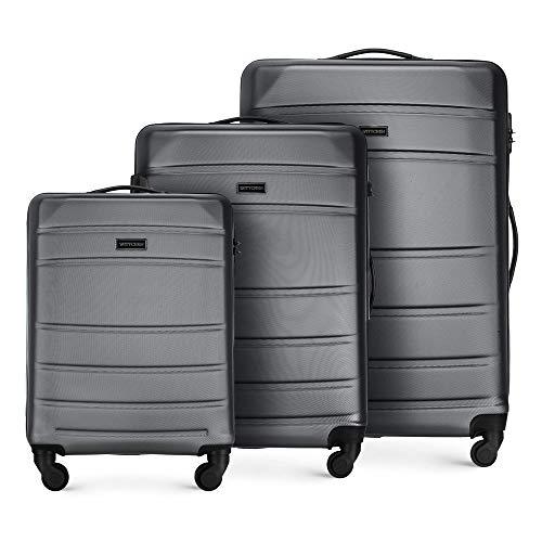 WITTCHEN Koffer – Set of 3   hartschalen, Material: ABS   hochwertiger und Stabiler   Grau   Verschiedene Größen
